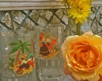 Vintage Charming Mexicana Mugs 1940's Decals in Hot Colors