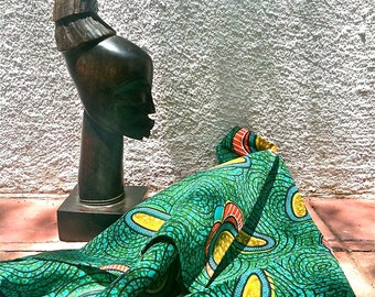 3 Pieces Of Vintage Fabric West African Wax Print Kente  1970's