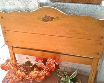 Vintage Branded Signed Monterey Twin Bed Headboard Footboard Extremely Rare Sombrero. Boots And Blanket Original Rails