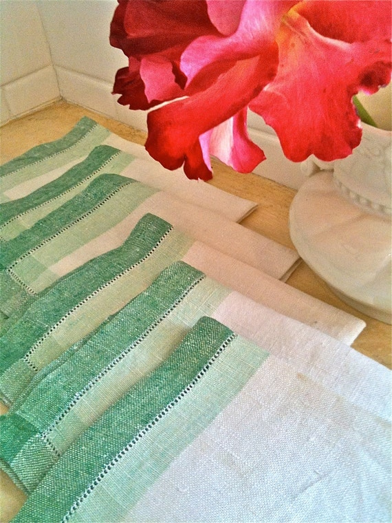 Vintage Linen Cocktail Napkins Set of 6 from the 1930's