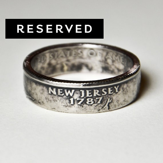 Coin Ring - US - New Jersey Quarter - Size 11 (Reserved for Danielle)
