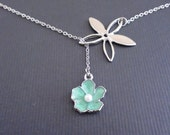 20% offFive Petals And Sakura Mint Charm -16k White Gold Plated Lariat Necklace