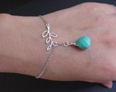 Sale-Mini Five Leaf Branch And Turquoise Teardrop Briolette-Lariat Bracelet-Available Yellow Gold Plated Bracelet