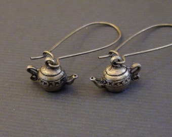 Clearance-Antiqued Mini Kettle-Earrings