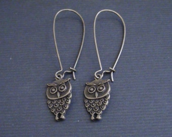 Clearance-Antiqued Brass Mini Eagle Owl-Earrings
