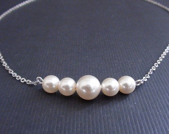 Line Up Of Swarovski Cream Pearls-White Gold Plated Necklace.