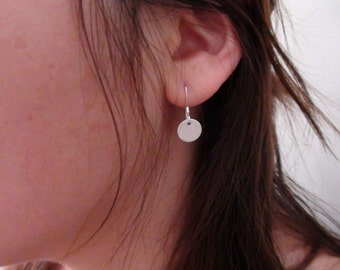 Sale-Sterling Silver Coin Disc Earrings