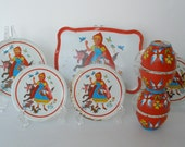 Vintage 12 Piece Tin Lithograph Little Red Ridinghood Dish Set