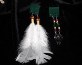 White Duck Feathers and Metal Leaf Earrings