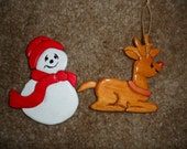 Frosty and Rudolph Intarsia Ornaments