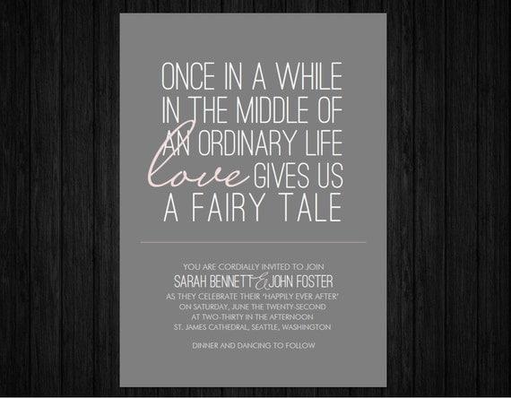 "Thanks For Wedding Invitation Quotes: Items Similar To Printable ""Fairy Tale"" Wedding Invitation"