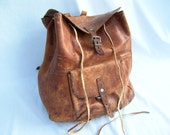 Old Distressed Leather Drawstring Backpack Steampunk