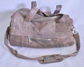 Natural Ditressed Brown Leather Duffle Bag Heavy Thick Soft