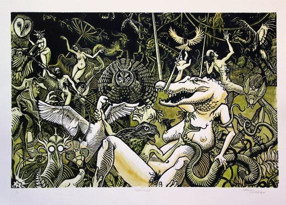 "Certamen - 24x16"" Hand Colored Woodcut on Paper - Thomas Shahan"