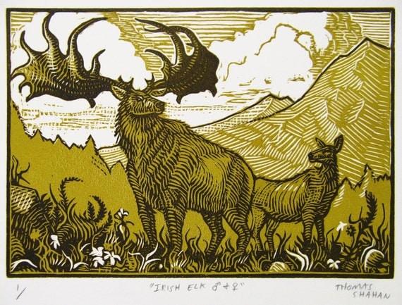 Irish Elk - 2 Color Reduction Linocut - Thomas Shahan