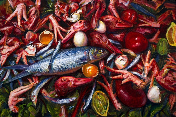 """Composition with Meat - Original Oil Painting - 24x36"""" - Thomas Shahan"""