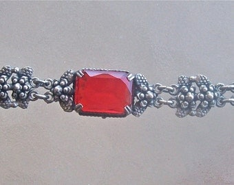 Vintage Art Nouveau Style Bracelet with Red Stone