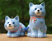 Vintage Otagiri Cat and Kitten Salt and Pepper Shakers with Matching Spoon Rest (3)