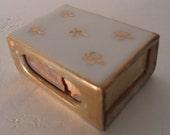 Vintage 1960's White Porcelain MATCH BOX Cover with Fleur De Lis Motif
