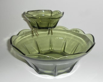 Vintage 1950's GLASS CHIP & DIP Serving Bowls