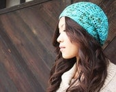 Turquoise Blue Beanie Hat - Hand Crochet - Hand Dyed Cotton