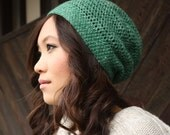 Green Slouchy Beanie - Emerald Green - Crocheted Beanie, Wool, Hemp Mix, LAST ONE LEFT