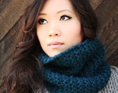 Chunky Cowl - Merino Wool - Teal Blue, Super Soft, Cozy - SALE 10% OFF