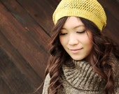Yellow Beanie - Mustard Yellow - Crocheted Slouchy Hat, Hand Dyed Cotton, 10% OFF