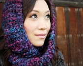 Super Soft Knitted Infinity Scarf - Luxury Merino Wool - Hand Painted, Violet, Blue - LAST ONE LEFT