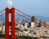 Golden Gate Bridge Under the Moon in San Francisco  - Choose Which Set of 2 Blank Any Occasion Cards You Want
