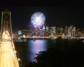 San Francisco Bay Bridge New Years Eve with Fireworks - You Pick Which Set of Two Blank Any Occasion Cards You Want