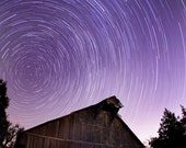 Star Trailing in the Sky over an Old Barn - Set of Two Blank Cards