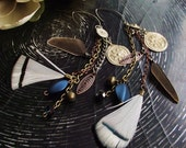 Tribal Gypsy Earrings- Shoulder Duster- Deep Blue Sea