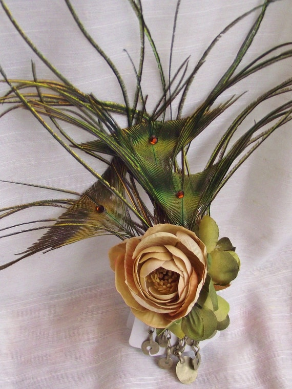 Kuchi Feather Fascinator- Burning Man, Festival, Tribal- Peacock Fins with Cream and Green Ranunculus, Kuchi Chain