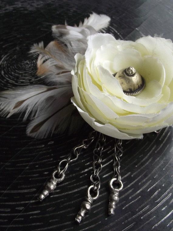 Kuchi Hair Flower- White Ranunculus & Cream Striped Feathers- Right Side