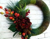 Winter Wool Holiday Wreath - Ready to ship
