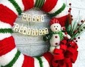 Merry Christmas Snowman Wreath