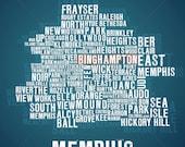 """24"""" X 24"""" CANVAS - Memphis Map"""