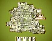 "24"" X 24"" MOUNTED PRINT - Memphis Map"