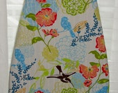 Ironing Board Cover Humming Birds and Flowers Vibrant Bold Colors Designer Fabric Orange Green Blue