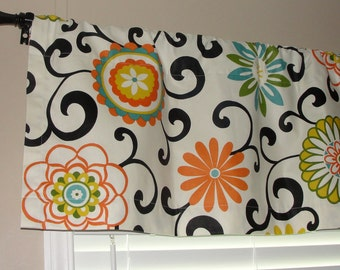 """Waverly Pom Pom Play Confetti Valance 50"""" wide x 16"""" long Big Bold Flowers Lined with Cotton Muslin Orange Green Turquoise Yellow Black"""