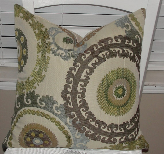 "Designer Throw Pillow Cover 18""x18"" 18x18 Jacquard Textured Medallions Swavelle/MIll Creek Blue Green Cream Mocha Brown"