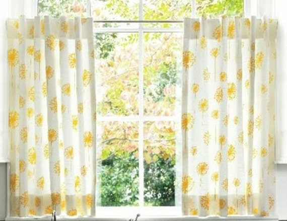 Cafe Curtain Set 80 Wide Yellow Dandelions With Back