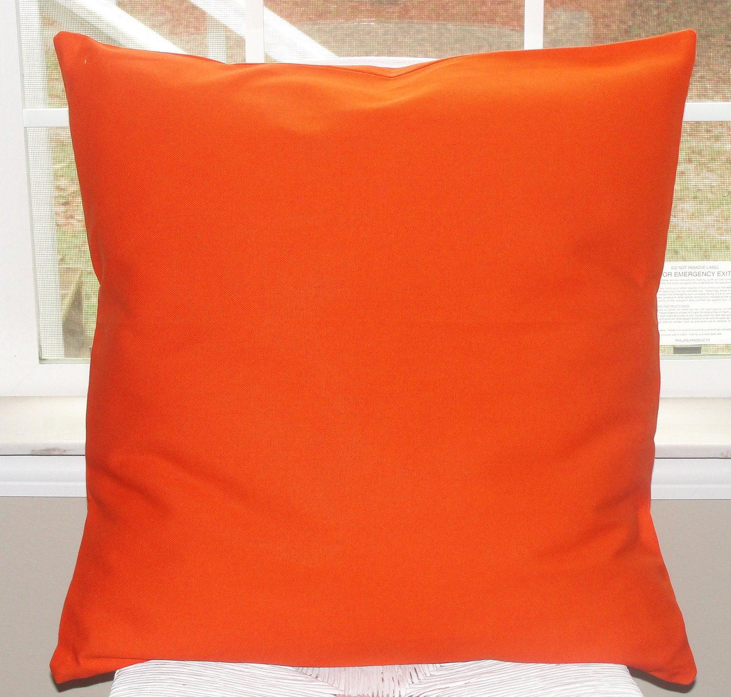 Bright Orange Pillow Cover 20x20 Duck Canvas By