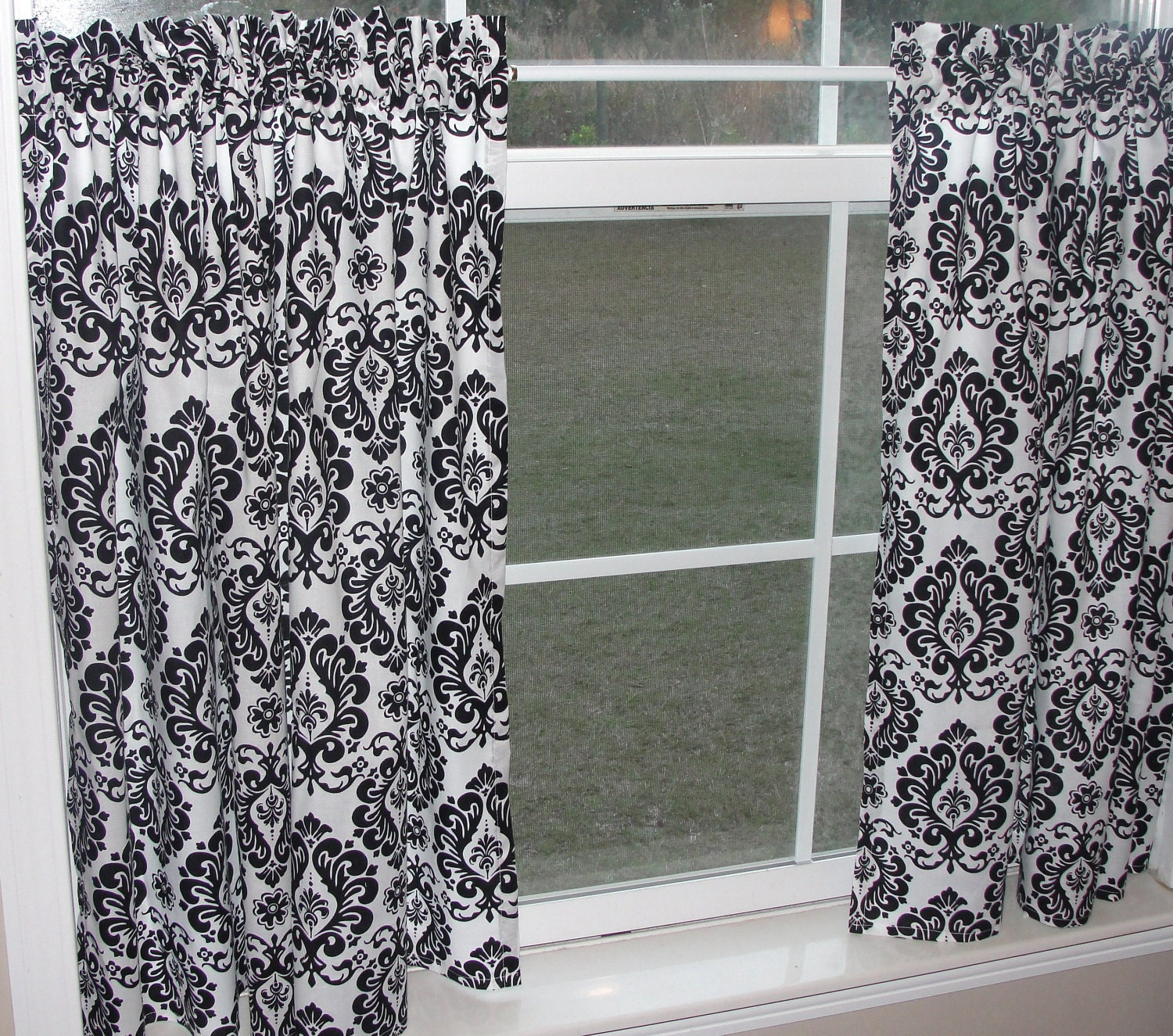 Cafe Curtain Set 80 Wide Black And White Damask Print