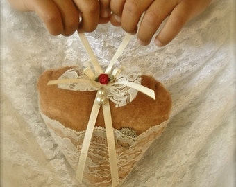 heart ring bearer pillow with vintage lace pocket