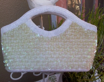 ivory beaded sequence purse