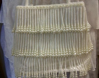 pearl fringe beaded purse