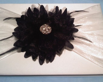 Black and light ivory guest book for wedding