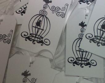 birdcage tags, applique..Qty 12pcs.